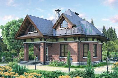 Проект дома с мансардой 10x9 метров, общей площадью 123 м2, из газобетона (пеноблоков), c террасой и котельной