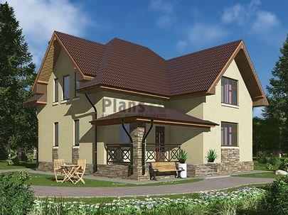 Проект дома с мансардой 10x9 метров, общей площадью 123 м2, из кирпича, c террасой, котельной и кухней-столовой