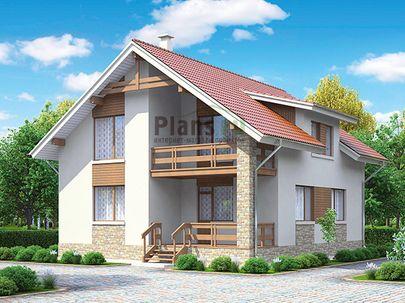 Проект дома с мансардой 10x9 метров, общей площадью 130 м2, из газобетона (пеноблоков), c террасой, котельной и кухней-столовой