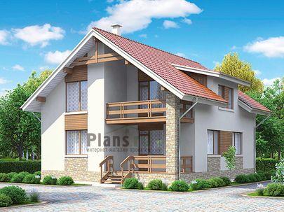 Проект дома с мансардой 10x9 метров, общей площадью 130 м2, из кирпича, c террасой, котельной и кухней-столовой