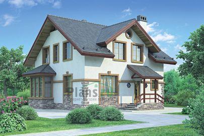 Проект дома с мансардой 10x9 метров, общей площадью 147 м2, из газобетона (пеноблоков), c котельной и кухней-столовой