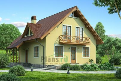 Проект дома с мансардой 10x9 метров, общей площадью 153 м2, из кирпича, c котельной и кухней-столовой