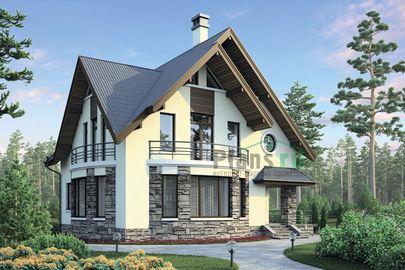 Проект дома с мансардой 10x9 метров, общей площадью 159 м2, из кирпича, c террасой и котельной
