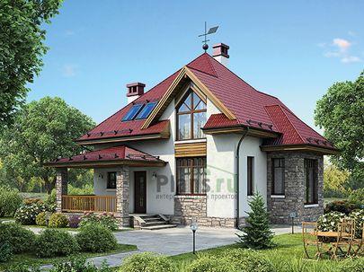 Проект дома с мансардой 10x9 метров, общей площадью 96 м2, из кирпича, c террасой, котельной и кухней-столовой