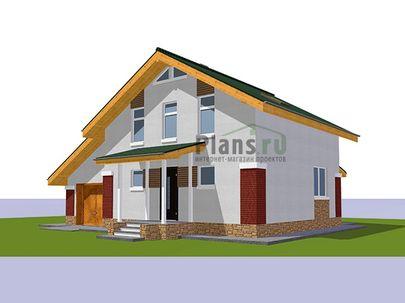 Проект дома с мансардой 11x10 метров, общей площадью 108 м2, из газобетона (пеноблоков), c гаражом, террасой, котельной и кухней-столовой