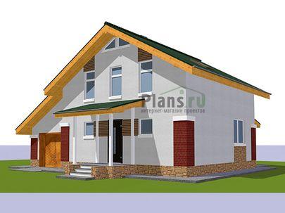 Проект дома с мансардой 11x10 метров, общей площадью 108 м2, из керамических блоков, c гаражом, террасой, котельной и кухней-столовой