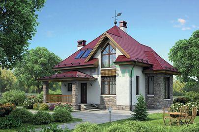 Проект дома с мансардой 11x10 метров, общей площадью 112 м2, из газобетона (пеноблоков), c террасой и котельной