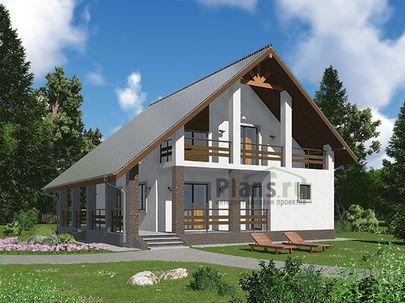 Проект дома с мансардой 11x10 метров, общей площадью 127 м2, из газобетона (пеноблоков), c террасой, котельной и кухней-столовой