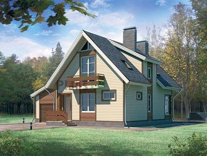 Проект дома с мансардой 11x10 метров, общей площадью 139 м2, из газобетона (пеноблоков), c гаражом, террасой и котельной