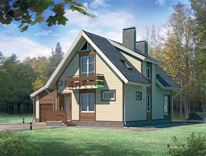 Проект дома с мансардой 11x10 метров, общей площадью 139 м2, из кирпича, c гаражом, террасой и котельной