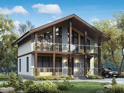 Проект дома с мансардой 11x10 метров, общей площадью 146 м2, из кирпича, c террасой, котельной и кухней-столовой