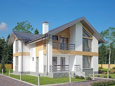 Проект дома с мансардой 11x10 метров, общей площадью 149 м2, из газобетона (пеноблоков), c террасой, котельной и кухней-столовой