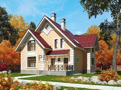 Проект дома с мансардой 11x10 метров, общей площадью 150 м2, из газобетона (пеноблоков), c террасой, котельной и кухней-столовой