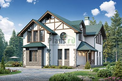 Проект дома с мансардой 11x10 метров, общей площадью 151 м2, из газобетона (пеноблоков), c котельной