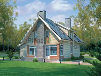 Проект дома с мансардой 11x10 метров, общей площадью 151 м2, из кирпича, c гаражом, террасой и котельной