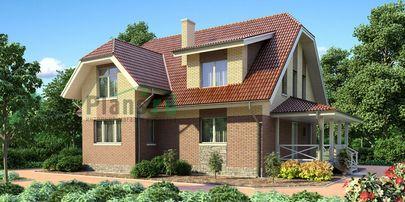 Проект дома с мансардой 11x10 метров, общей площадью 154 м2, из кирпича, c террасой и котельной