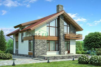 Проект дома с мансардой 11x10 метров, общей площадью 155 м2, из керамических блоков, со вторым светом, c террасой, котельной и кухней-столовой