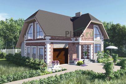 Проект дома с мансардой 11x10 метров, общей площадью 158 м2, из газобетона (пеноблоков), c гаражом и котельной