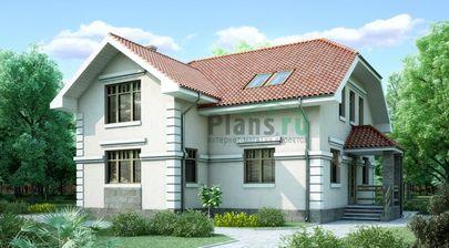 Проект дома с мансардой 11x10 метров, общей площадью 159 м2, из газобетона (пеноблоков), c котельной