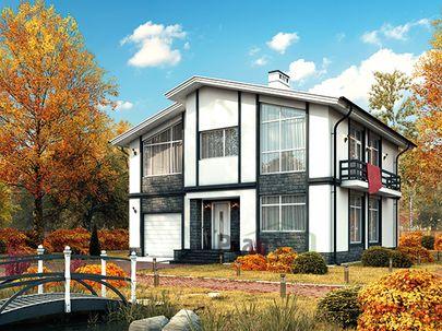 Проект дома с мансардой 11x10 метров, общей площадью 172 м2, из газобетона (пеноблоков), c гаражом, котельной и кухней-столовой