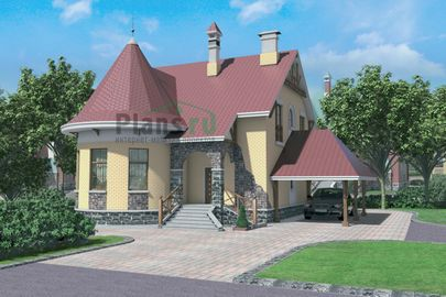 Проект дома с мансардой 11x10 метров, общей площадью 201 м2, из керамических блоков, c гаражом