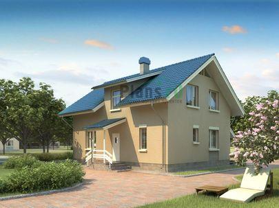 Проект дома с мансардой 11x11 метров, общей площадью 133 м2, из газобетона (пеноблоков), c котельной
