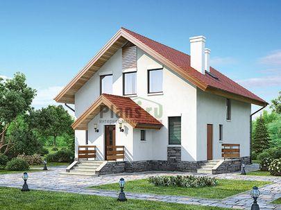 Проект дома с мансардой 11x11 метров, общей площадью 143 м2, из газобетона (пеноблоков), c котельной и кухней-столовой
