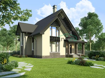 Проект дома с мансардой 11x11 метров, общей площадью 166 м2, из газобетона (пеноблоков), c террасой, котельной и кухней-столовой