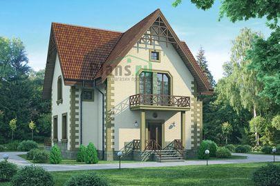 Проект дома с мансардой 11x11 метров, общей площадью 167 м2, из керамических блоков, c террасой, котельной и кухней-столовой