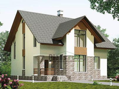 Проект дома с мансардой 11x11 метров, общей площадью 174 м2, из газобетона (пеноблоков), c террасой, котельной и кухней-столовой