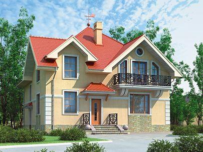 Проект дома с мансардой 11x11 метров, общей площадью 174 м2, из керамических блоков, c котельной и кухней-столовой