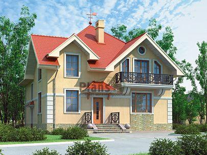 Проект дома с мансардой 11x11 метров, общей площадью 175 м2, из кирпича, c котельной и кухней-столовой