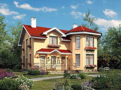 Проект дома с мансардой 11x11 метров, общей площадью 179 м2, из газобетона (пеноблоков), c террасой, котельной и кухней-столовой
