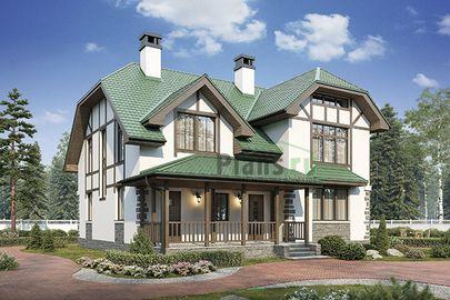 Проект дома с мансардой 11x11 метров, общей площадью 181 м2, из кирпича, c террасой, котельной и кухней-столовой