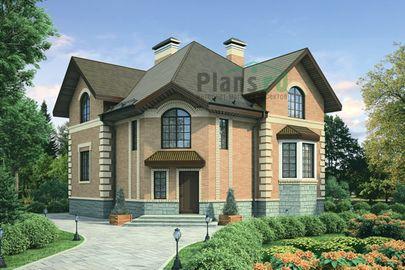 Проект дома с мансардой 11x11 метров, общей площадью 190 м2, из кирпича, c котельной и кухней-столовой