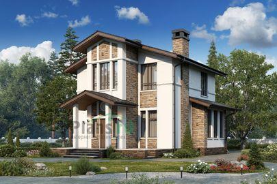 Проект дома с мансардой 11x12 метров, общей площадью 133 м2, из газобетона (пеноблоков), c террасой и котельной