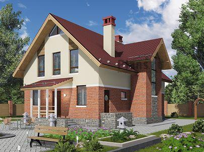 Проект дома с мансардой 11x12 метров, общей площадью 163 м2, из газобетона (пеноблоков), c террасой, котельной и кухней-столовой