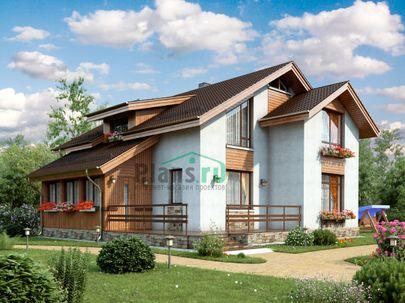 Проект дома с мансардой 11x12 метров, общей площадью 165 м2, из кирпича, c террасой и котельной
