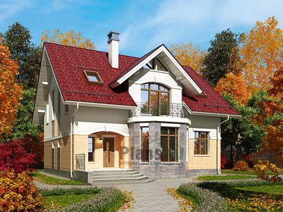 Проект дома с мансардой 11x12 метров, общей площадью 169 м2, из газобетона (пеноблоков), c террасой, котельной и кухней-столовой