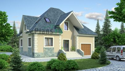 Проект дома с мансардой 11x12 метров, общей площадью 192 м2, из керамических блоков, c гаражом, котельной и кухней-столовой