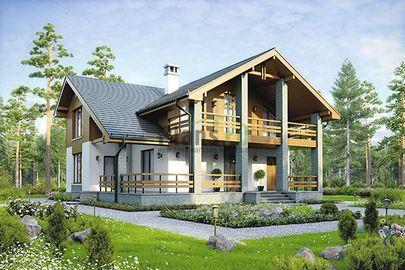 Проект дома с мансардой 11x13 метров, общей площадью 145 м2, из газобетона (пеноблоков), c террасой и котельной