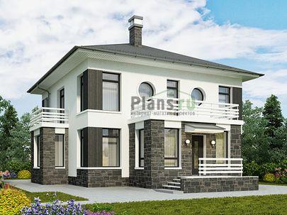 Проект дома с мансардой 11x13 метров, общей площадью 172 м2, из газобетона (пеноблоков), c террасой, котельной и кухней-столовой