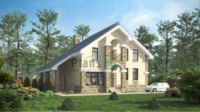 Проект дома с мансардой 11x13 метров, общей площадью 205 м2, из керамических блоков, c террасой, котельной и кухней-столовой