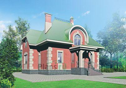 Проект дома с мансардой 11x15 метров, общей площадью 201 м2, из газобетона (пеноблоков), c кухней-столовой