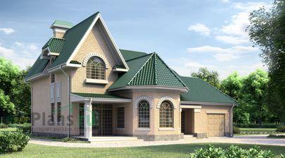 Проект дома с мансардой 11x15 метров, общей площадью 243 м2, из керамических блоков, со вторым светом, c гаражом, котельной и кухней-столовой
