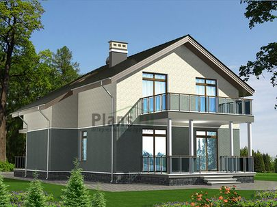 Проект дома с мансардой 11x17 метров, общей площадью 164 м2, из кирпича, c террасой и кухней-столовой