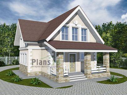 Проект дома с мансардой 11x8 метров, общей площадью 106 м2, из керамических блоков, c террасой, котельной и кухней-столовой