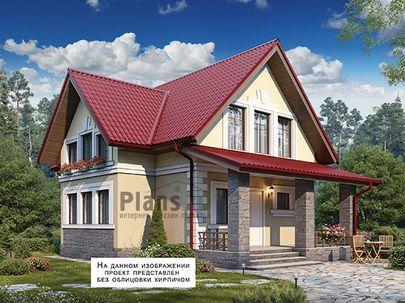 Проект дома с мансардой 11x8 метров, общей площадью 108 м2, из газобетона (пеноблоков), c террасой, котельной и кухней-столовой