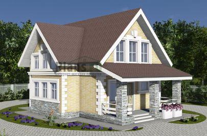Проект дома с мансардой 11x8 метров, общей площадью 109 м2, из газобетона (пеноблоков), c террасой и котельной