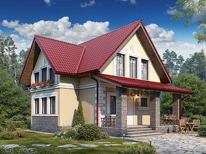 Проект дома с мансардой 11x8 метров, общей площадью 109 м2, из газобетона (пеноблоков), c террасой, котельной и кухней-столовой
